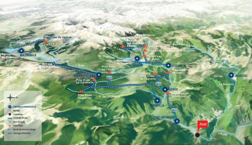 shéma des usines hydroélectriques de la haute vallée de l'Aude